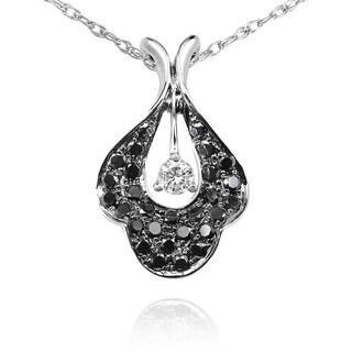 Annello 14k Gold 3/8ct TDW Black and White Diamond Flower Necklace (G-H, I1-I2)