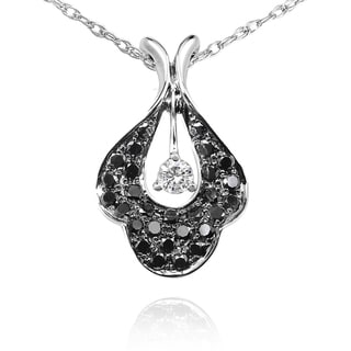 Annello 14k Gold 3/8ct TDW Black and White Diamond Flower Necklace (G-H, I1-I2)