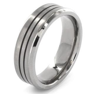 Titanium Dual Stripe Concave Ring