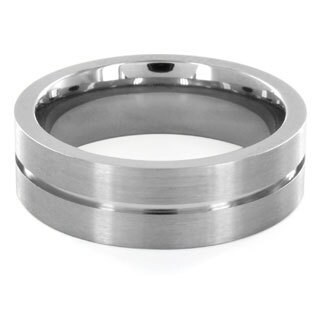 Titanium Center Groove Brushed Ring