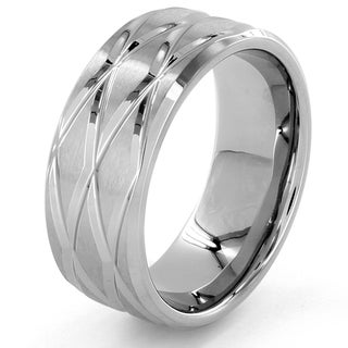 Stainless Steel Diamond-shaped Groove Ring