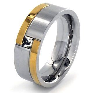 Two-tone Stainless Steel Cubic Zirconia Square Ring