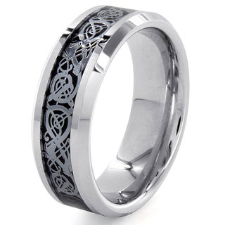 Cobalt and Tungsten Black Inlaid Scroll Design Ring