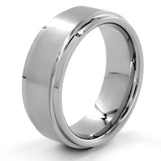 Cobalt and Tungsten Brushed and Polished Stepped Edge Ring