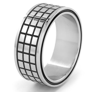 Stainless Steel Black Grid Ring