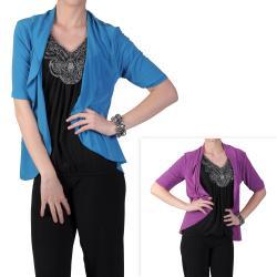 Tressa Designs Women's Ruffled Open Front Half-sleeve Cardigan