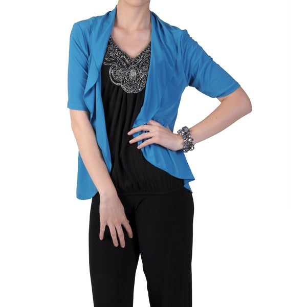 Tressa Designs Women's Ruffled Open Front Half-sleeve Cardigan