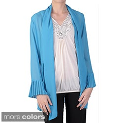 Tressa Designs Women's Pleated Detail Open Front Chiffon Cardigan