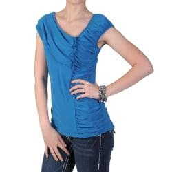Tressa Designs Women's Stretchy Cap-sleeve Gathered Top