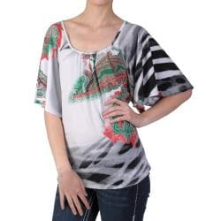 Tressa Designs Machine-Washable Women's Pleated Scoop Neck Short-Sleeve Top