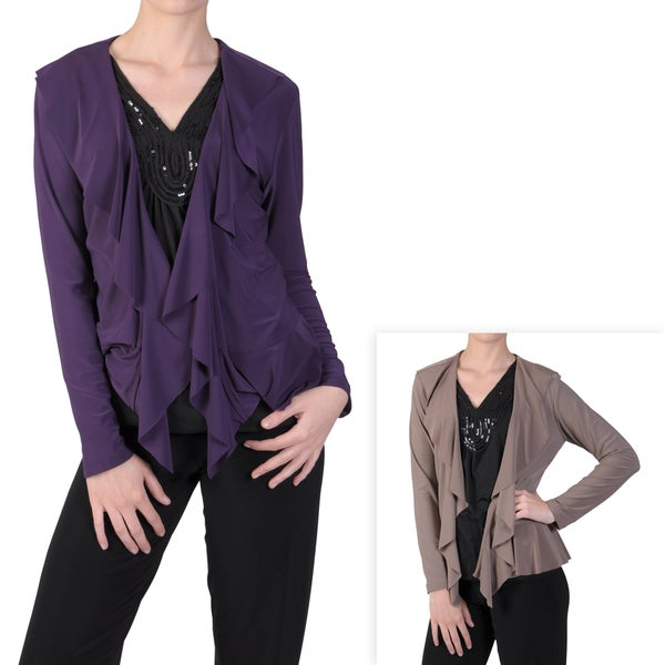 Tressa Designs Women's Stretchy Open Front Ruffled Lapel Cardigan