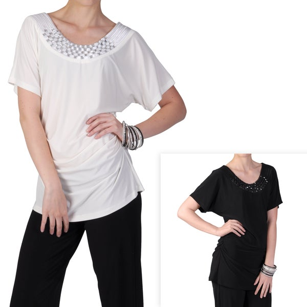 Tressa Designs Women's Short-sleeve Embellished Neck Tunic Top