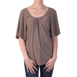Tressa Designs Women's Pleated Scoop Neck Butterfly Sleeve Top