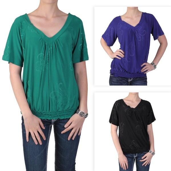Tressa Designs Women's Smocked Waist V-Neck Short-Sleeve Top with Floral Design