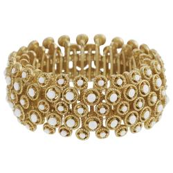 Journee Collection Goldtone Acrylic Bead Vintage Stretch Bracelet