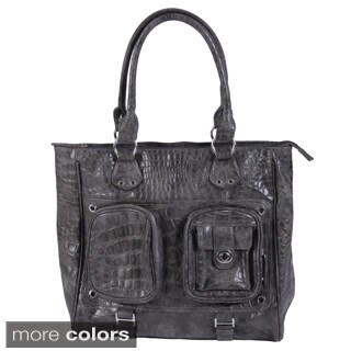 Journee Collection Women's Faux-Leather Double-Top Python-Print Tote Bag