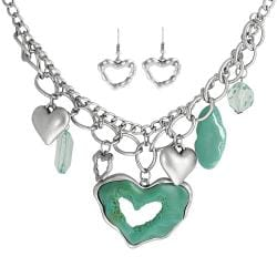 Journee Collection Silvertone Crystal and Lucite Heart Jewelry Set