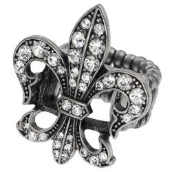 Journee Collection Silvertone Rhinestone Fleur de Lis Stretch Ring