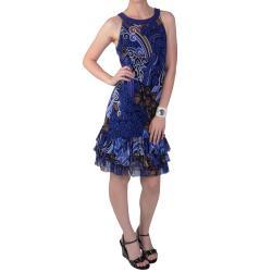 Tressa Designs Women's Sleeveless Ruffled Blue Print Dress
