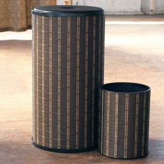 1530 LaMont Home Black/ Brown Barton Round Hamper and Wastebasket Set