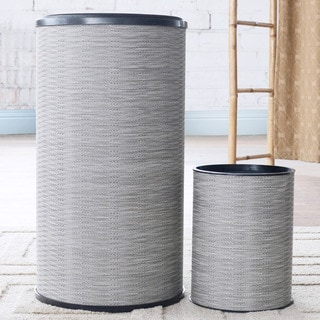 1530 LaMont Home Taupe Aiden Round Hamper and Wastebasket Set