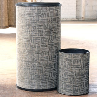 1530 LaMont Home Silver/ Black Zoe Round Hamper and Wastebasket Set