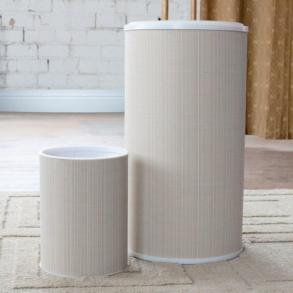 1530 LaMont Home White/ Ivory Raine Round Hamper and Wastebasket Set