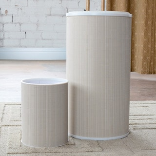 1530 LaMont Home White/ Ivory Raine Round Hamper and Wastebasket Set