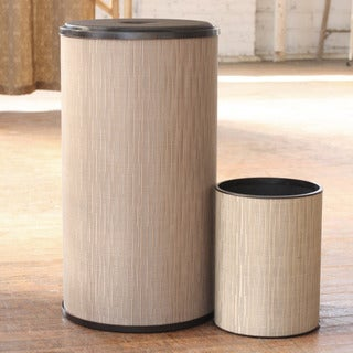 1530 LaMont Home Champagne Caprina Round Hamper and Wastebasket Set