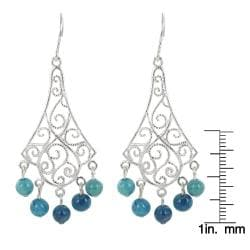 Sunstone Sterling Silver Blue Jasper Filigree Chandelier Earrings