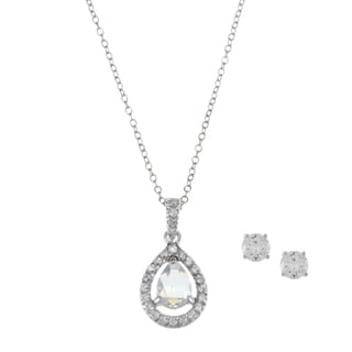 Sunstone Sterling Silver Cubic Zirconia Faceted Teardrop Jewelry Set