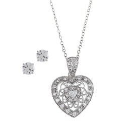 Sunstone Sterling Silver Cubic Zirconia Filigree Heart Jewelry Set