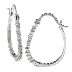 Sunstone Sterling Silver Cubic Zirconia Oval Hoop Earrings