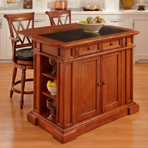 Deluxe Distressed Cottage Oak-finished Island and Two Bar Stools