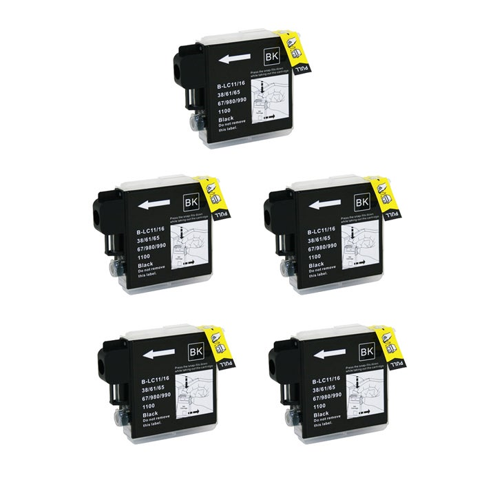 Brother LC65 Compatible Black Ink Cartridge (Pack of 5)