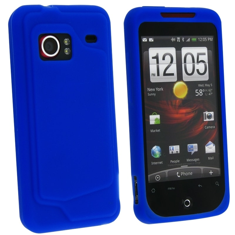 INSTEN Dark Blue Silicone Skin Phone Case Cover for HTC Droid Incredible