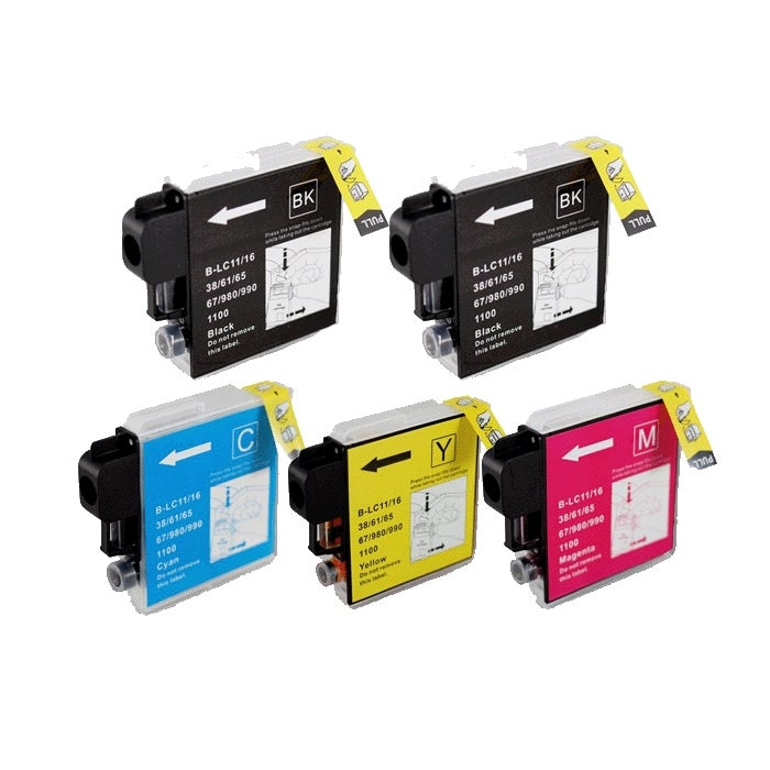 Brother LC65 Compatible Black/ Color Ink Cartridge (Pack of 5)