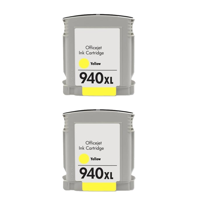 Hewlett Packard 940XL Yellow Ink Cartridges (Pack of 2) (Remanufactured)