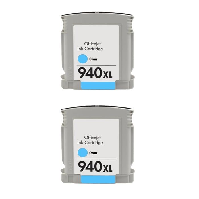 Hewlett Packard 940XL Cyan Ink Cartridge (Pack of 2) (Remanufactured)