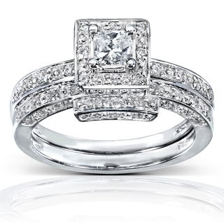 Annello 14k White Gold 5/8ct TDW Diamond Bridal Ring Set (H-I, I1-I2)