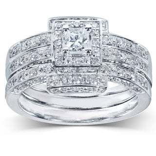 Annello 14k Gold 4/5ct TDW Diamond 3-piece Halo Bridal Ring Set (H-I, I1-I2)