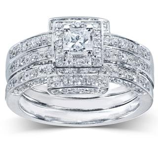Annello 14k Gold 4/5ct TDW Diamond 3-piece Halo Bridal Ring Set (H-I, I1-I2)