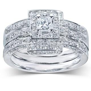Annello 14k Gold 4/5ct TDW Diamond 3-piece Halo Bridal Ring Set (H-I, I1-I2) with Bonus Item