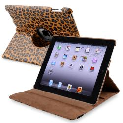 Brown Leopard 360-degree Swivel Leather Case for Apple iPad 2/ 3