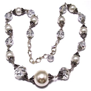 Silverplated Clear Crystal and White Pearl Jewelry Set