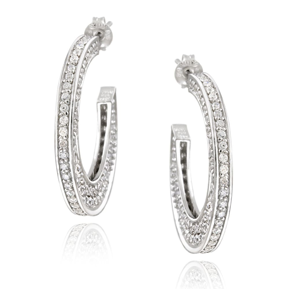 Icz Stonez Sterling Silver Cubic Zirconia Flat Open Hoop Earrings