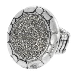 Journee Collection Silvertone Rhinestone Vintage Nature Stretch Ring
