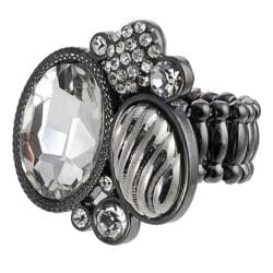 Journee Collection Black Rhodium Rhinestone Stretch Ring