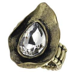 Journee Collection Goldtone Rhinestone Vintage Nature Stretch Ring