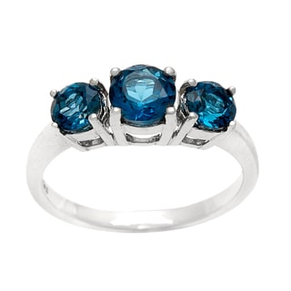 Glitzy Rocks Sterling Silver 1 1/5ct TGW London Blue Topaz 3-stone Ring